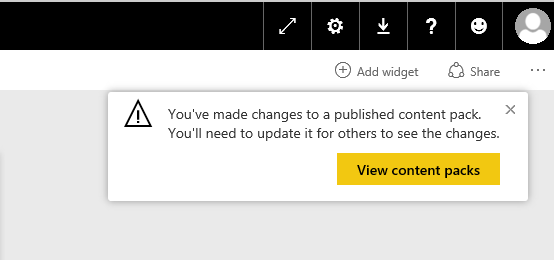 power bi content pack changes