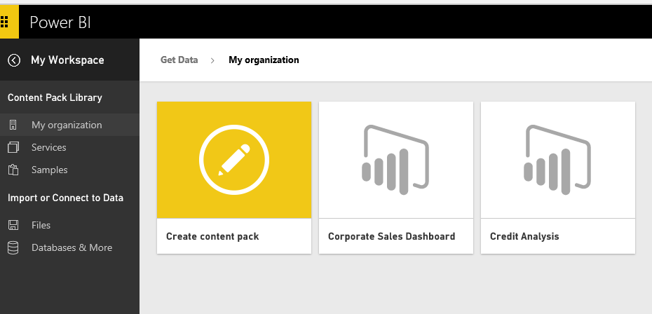 power bi content pack create