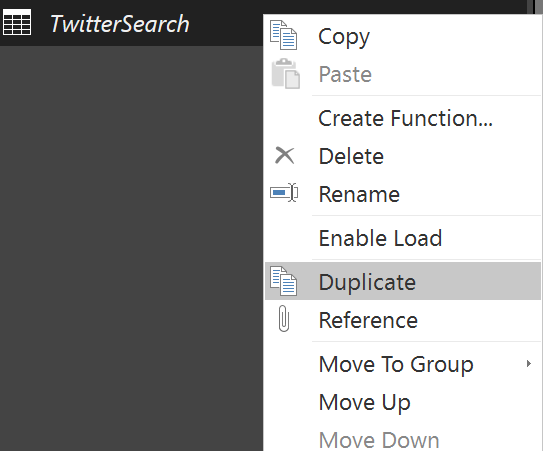 query editor duplicate
